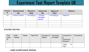 test result report template experiment test report template uk doc project management