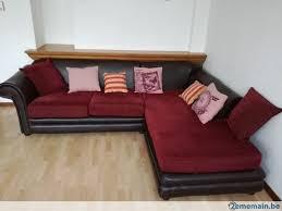 canapé d angle cuir et tissu canapé d angle cuir et tissu de couleur bordeaux a vendre