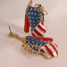 American Flag Shoes Gold Metal American Flag Dangle Pump Shoes Red Blue Earrings Set