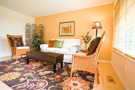 yellow living room with accent wall house decor picture