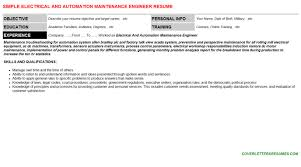 Resume For Maintenance Engineer Electrical And Automation Maintenance Engineer Cover Letter U0026 Resume