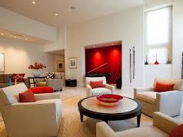 Red Patterned Rug Surprising Living Room With Red Accents Living Room Ceiling Beams
