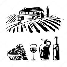 cartoon white wine rural landscape with villa vineyard fields and hills basket with