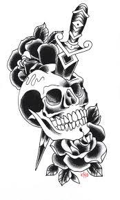 skull dagger n roses tattoo design