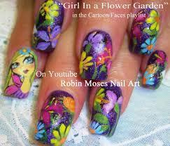 nail art tutorial diy flower garden glitter nails design youtube