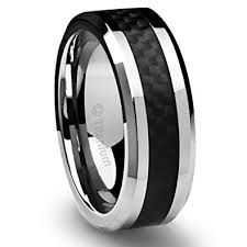 8mm s titanium ring wedding band black carbon fiber inlay and - Carbon Fiber Wedding Rings