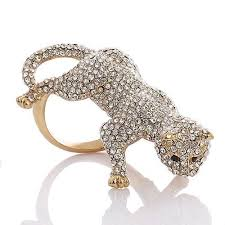 rings crystal swarovski images Large stylish panther ring with jet black swarovski crystal jpg
