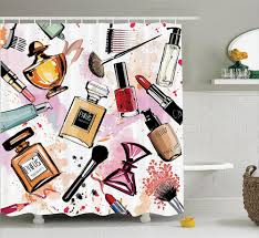 Paris Fabric Shower Curtain by Girly Shower Curtains Cosmetic Perfume And Lipstick Nail Polish