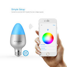 us koogeek wi fi enabled e27 8w color changing dimmable smart led