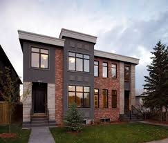 Modern Exterior Design by Combination Of Red Brick And Gray Stucco In The Exterior House