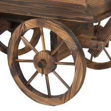 garden wood wagon flower planter pot stand with wheels home