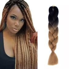 Light Brown Hair Extensions 24 034 Ombre Black Light Brown Synthetic Kanekalon Jumbo Braiding