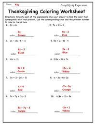 pre algebra simplifying algebraic expressions coloring