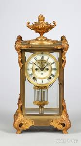 Chiming Mantel Clock Ansonia French Rococo Style Gilt Brass And Glass Chiming Mantel