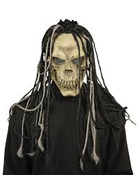 dead dread skull skeleton scary latex mask with hair