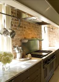 kitchen with brick backsplash best idea of brick backsplash kitchen with lighting 8813