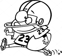 vector of a cartoon football players diving towards the ball
