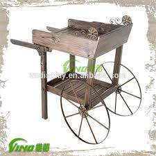 style wooden cart for display with metal wheel display cart