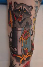 coloured eating raccoon tattoo tattoomagz