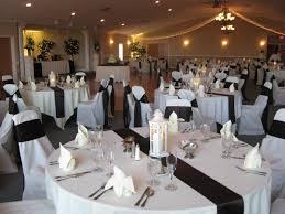 black and white chair covers white table linens with black satin table runner white chair