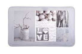 cadre paillasson interieur tapis de sol gris touché doux décor nature love 45x75cm design