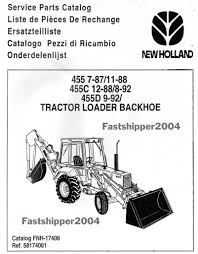 ford tractors 455 455c 455d loader backhoe service parts manual