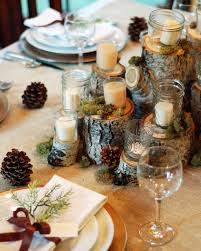 log sections as pedestals jars as candle holders pine