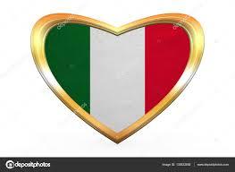 Italy National Flag Flag Of Italy In Heart Shape Golden Frame U2014 Stock Photo