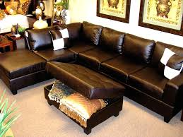 Leather Chaise Lounge Sofa Brown Bonded Leather L Shaped Sectional Sofa With