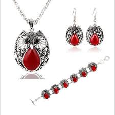 owl vintage necklace images Vintage style owl jewelry set necklace earring and bracelet for jpg