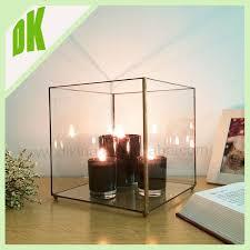 black cube shaped glass terrarium geometric hanging glass