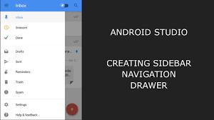 tutorial android menu bar android studio creating sidebar navigation drawer over action