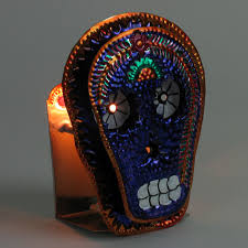 Tin Sconce Mexican Folk Art Painted Tin Skull Candle Sconce Set Of 2