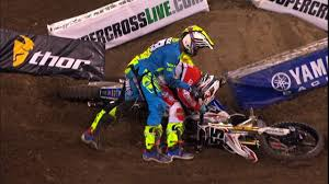 monster energy motocross helmet weston peick punches vince friese 2016 monster energy supercross
