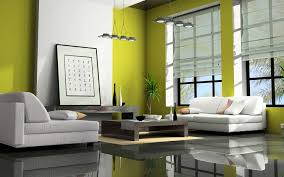 art deco living room style design with lime green painted wall and