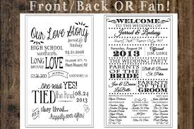 free printable wedding program fans wedding program fan or front back 2 sides our story any