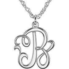 Monogram Initials Necklace Sterling Silver Single Initial Script Monogram Pendant Necklace