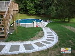 Backyard Above Ground Pools by Oval Fiberglass Above Ground Pools Design With Walkways