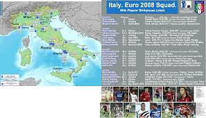 Blank Map Of Italy by Uefa Euro 2008 Italy National Team Squad Map Billsportsmaps Com