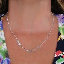 Initials Necklace Silver Sideways Initial Necklace Hammered Sterling Silver Necklace