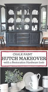 chalk paint hutch makeover with a restoration hardware look