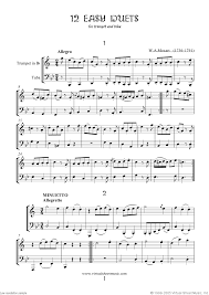 mozart easy duets sheet for trumpet and tuba