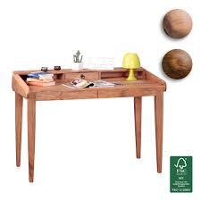 Holz Schreibtisch Finebuy Schreibtisch Massiv Holz Sekretär 117cm Breit Mit 3