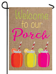 Decorative Holiday Flags Burlap Welcome To Our Porch Double Applique Garden Flag I