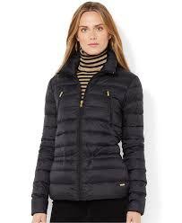 lauren by ralph lauren quilted down puffer jacket in black lyst