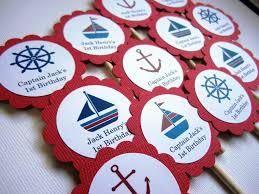 personalized nautical cupcake toppers in red for birthday wedding