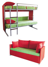 space saving living room design with transform bunk bed into couch