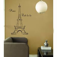Eiffel Tower Decoration Eiffel Tower Wall Decal Wall Mural With Brown Sofa And Beautiful