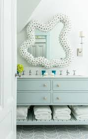 Blue Bathroom Vanity by Light Blue Bath Vanity With White Seashell Mirror Cottage Bathroom