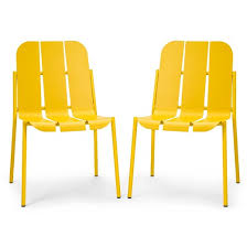 Dot Patio Furniture by Slat 2pk Metal Outdoor Chair Yellow Too By Blu Dot Target